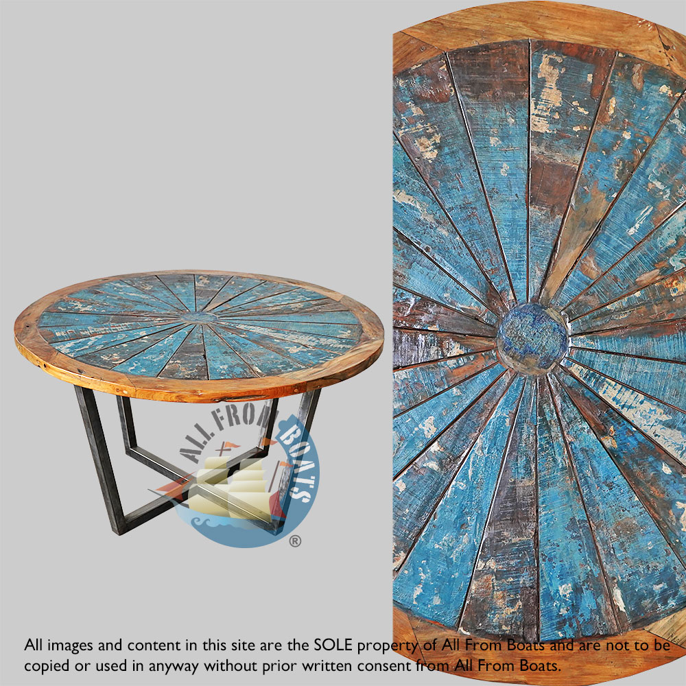 New Designs Boat Wood Round Dining Table With Powder Coated Iron Legs