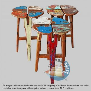 bar stools out of boatwood