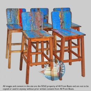bar chairs out of boatwood