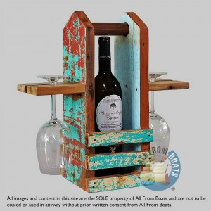 boat wood table wine set